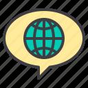 network, social, speech bubble, text, world