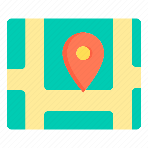 communication, location, map, network, social icon