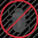 debug, prohibited, no, sign, antivirus icon