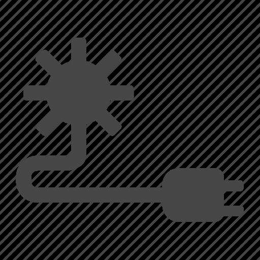 cable, connector, lightning, plug, solar, sun icon