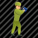 binocular, hand, man, person, retro, soldier