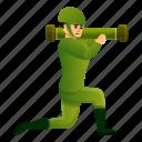 bazooka, border, hand, man, person, soldier