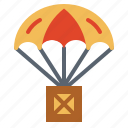 box, help, parachute, solidarity icon