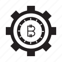 bitcoin, cog, cryptocurrency, gear icon