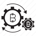 blockchain, digital money, gears, system icon