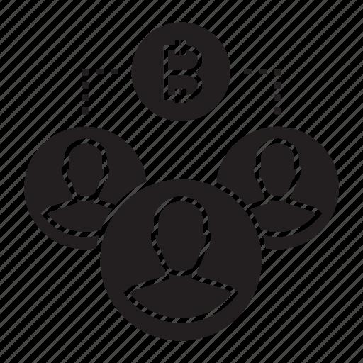 bitcoin, blockchain, crowd, cryptocurrency icon