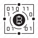 binary, bitcoin, cryptocurrency icon