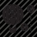 balloon, bitcoin, financial risk, float icon