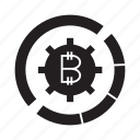 bitcoin, cog, gear icon