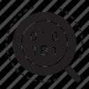 binary, bitcoin, magnifier icon