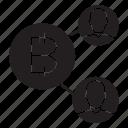 bitcoin, network, share icon
