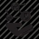 bitcoin, blockchain, hand, network icon