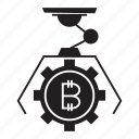 bitcoin, cryptocurrency, gear, robot icon
