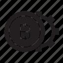 bitcoin, coin, gear icon