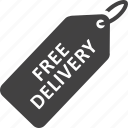 delivery, free, free delivery, tag icon