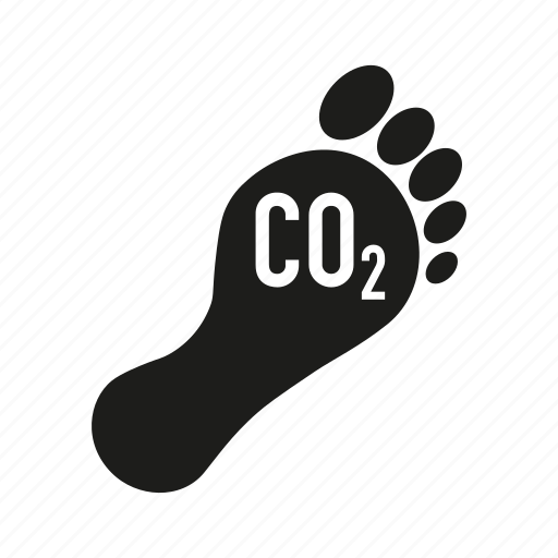 carbon dioxide, carbon footprint, environment, foot, pollution icon