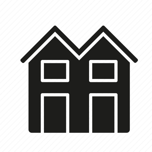building, construction, home, real estate, realty, town house, twin house icon