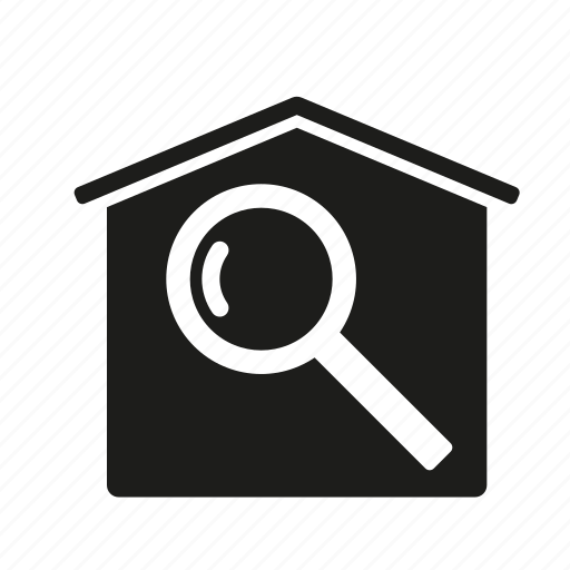 building, construction, home, house, real estate, realty, search icon