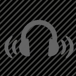 headphones, loudness, music, sound, studio, volume, wave icon
