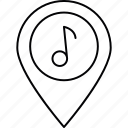 location, marker, melody, pin icon