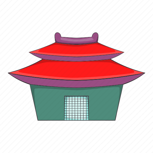 asian, building, cartoon, pagoda, temple, tower, travel icon