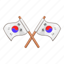 cartoon, flag, korea, korean, national, south, white icon