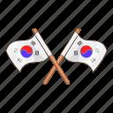 cartoon, flag, korea, korean, national, south, white