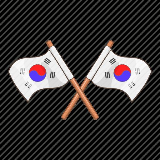 cartoon, flag, korea, korean, national, south, white icon