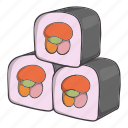 cartoon, dish, food, kimbap, traditional, white icon