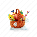apple, candy, christmas, gift baskets, new year, present, snowflake icon