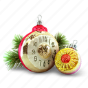 christmas tree, clock, present, toy icon