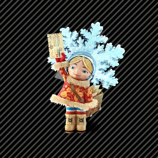 girl, ice, mail, postman, snow icon