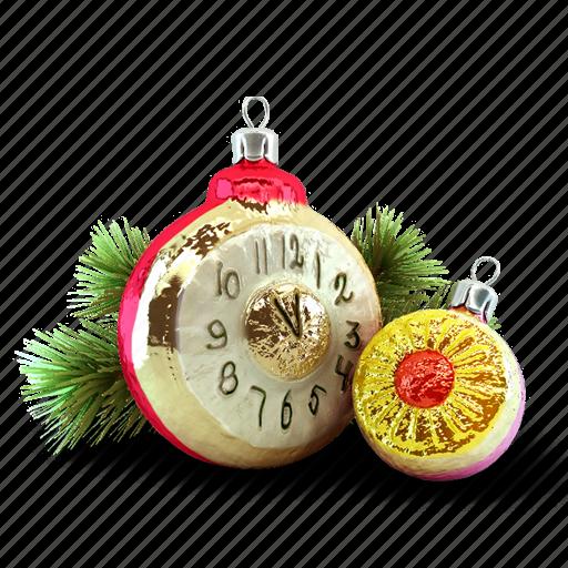 christmas tree, clock, present, toy icon