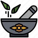 chemical, education, health, medicine, mortar, pestle, spa icon
