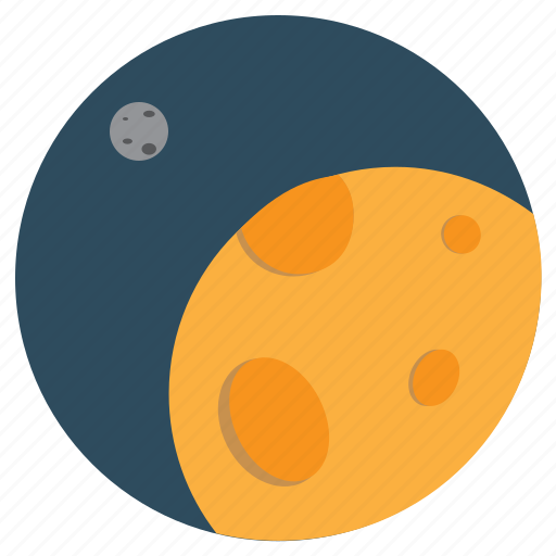 moon, orange, planet, planets, space, travel icon