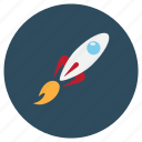 fast, fire, rocket, space, spaceship, travel icon
