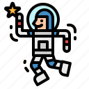 astronaut, avatar, education, galaxy, space icon