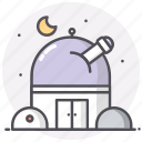 astronomy, moon, observatory, sky, space icon