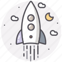 astronomy, moon, rocket, space, spaceship icon