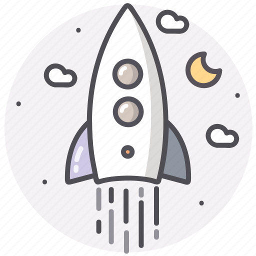 astronomy, moon, rocket, space, spaceship icon