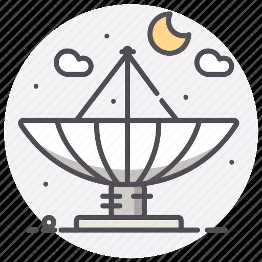 Radio telescope, astronomy, moon, space icon