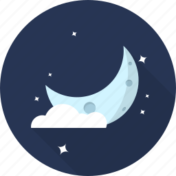 cloud, crestcent, forecast, moon, night, space, weather icon