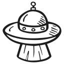 alien, astronomy, beam, ship, space, space craft, space ship icon
