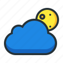 cloudy, evening, moon, night, weather icon