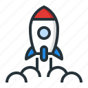 launch, planet, rocket, space, spaceship icon