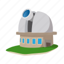 astronomy, building, cartoon, observatory, science, space, telescope icon