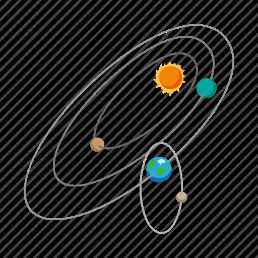 astronomy, cartoon, earth, orbit, planet, science, sun icon