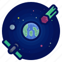 earth, exploration, meteor, satellite, space, travel icon