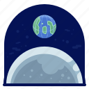 earth, exploration, moon, space, travel icon