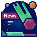 exploration, meteor, news, space, travel icon